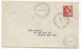 "AUSTRALIA - 1953 - OBLITERATION AMBULANT ""TRANS AUST. RAILWAY - PAY TRAIN"" Sur ENVELOPPE => NEUTRAL BAY N.S.W - Postmark Collection"