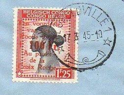 CONGO -  COB 270/273 - CTO Léopoldville 1 - 1945 - Croix Rouge  - COB 271 Surch Fortement DECENTREE à Gauche -  RB01 - 1923-44: Storia Postale