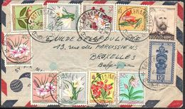 CONGO -  MASQUES Fleurs Dhanis - COSTERMANSVILLE Type 10(H) Vers Bruxelles 1953  -  RB01 - 1947-60: Lettres