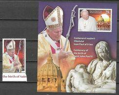 ROMANIA, 2020, MNH,CHRISTIANITY, CENTENARY OF THE BIRTH OF POPE JOHN PAUL II, 1v+S/SHEET - Pausen