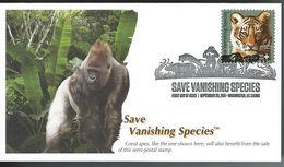 USA. Scott # B4 FDC. Save Vanishing Species  Gorilla's & Tiger. 2011 - Big Cats (cats Of Prey)