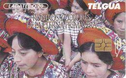 (CHIP ROJO) TARJETA DE GUATEMALA DE ROSTROS EN SANTIAGO ATITLAN (LADATEL) - Guatemala