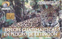 (CHIP NEGRO) TARJETA DE GUATEMALA DE UN JAGUAR (LADATEL) - Guatemala
