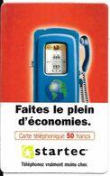 CARTE-PREPAYEE-STARTEC-50F-POMPE CARBURANT ANCIENNE-V° ROUGE -R°/V° Glacé- GRATTEE-LUXE - France