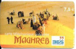 CARTE-PREPAYEE-365-7.5€;-MAGHREB-TOUAREGS-31/05/2004-V° En BIAIS- Code Sur Fond Gris-TBE - France