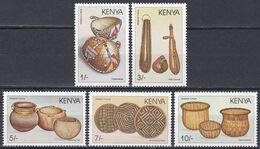 Kenia Kenya 1988 Gebrauchsgegenstände Körbe Baskets Flaschen Bottles Kürbis Pumpkin Horn Cornet Alltag, Mi. 452-7 ** - Kenya (1963-...)