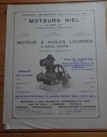 MOTEURS NIEL Notice Technique 4 Pages Gaz Gazogènes Mines - Automobile