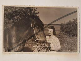 Photo Vintage. Original. Agriculture. Fille Et Cheval. Lettonie D'avant-guerre - Professions