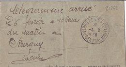 21262# WW1 TELEGRAMME CONTRÔLE 38 CENSURE Obl POSTES BUREAU CENTRAL MILITAIRE 1918 REVIGNY MEUSE - 1. Weltkrieg 1914-1918