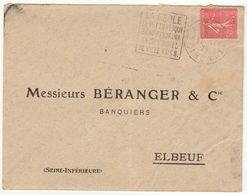 ESC 50C Semeuse Daguin La Réole Gironde 1929 - Postmark Collection (Covers)