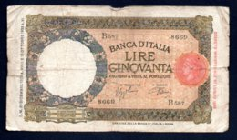 Banconota Banca D'Italia £ 50 Lupetta 29-12-1939 - 50 Lire