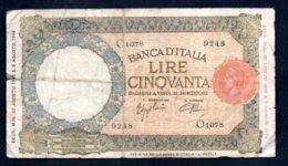 Banconota Banca D'Italia £ 50 Lupetta - Fascio 23-8-1943 R3 - 50 Lire