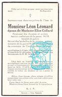 DP Douanier Ancien Combattant Oudstrijder 14-18 Léon Léonard ° Corbion Bouillon 1879 † Limerlé Gouvy 1946 X E. Collard - Andachtsbilder