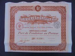 FRANCE - 02 - PLATRIERES DE LATIGNY, AISNE - PART DE FONDATEUR - PARIS 1919 - Azioni & Titoli
