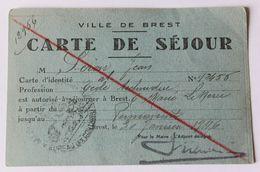 Rare Carte De Séjour Ville De Brest Janvier 1946 Suite Aux Bombardements Guerre 39-45 WW2 Péron Jean Audierne - 1939-45