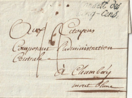 """1799 - LSC (de PARIS ?) Pour CHAMBERY Port Dû + MARQUE """"Conseil Des Cinq-Cens"""" En Noir + Cachet Au Verso - Postmark Collection (Covers)"""