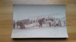 CARTE  POSTALE PHOTO -  AVION  BIPLAN   SUR  LA  PLAGE  -   80 SOMME - FORT MAHON - Fort Mahon
