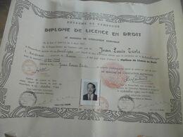 DIPLOME LICENCE EN DROIT CAMBODGE 1960 Jean-Louis TESTE - Diploma's En Schoolrapporten