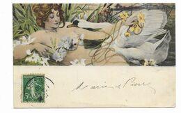 CPA Illustrateur Gaston Gérard Femme Art Nouveau Cygne Voyagée 1908 - Otros Ilustradores