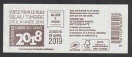 """Timbre - Carnet  - N°1599 - C7 -   Type Marianne D' Yseult  -  """"Votez Pour Le Plus Beau Timbre De 2018  """" 12T - Usage Courant"""