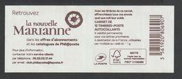 """Timbre - Carnet  - N°1599 - C1 - Type Marianne D' Yseult  - """" Retrouvez  La Nouvelle Marianne """"  - 12T - Usage Courant"""