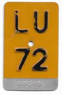 Velonummer Mofanummer Luzern LU 72 - Placas De Matriculación