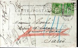 CARTE POSTALE 1900 - TYPE SAGE - - 1898-1900 Sage (Tipo III)