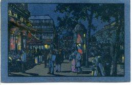 75009 PARIS - Joli Dessin Avec Effet De Nuit Du Boulevard Des Capucines, Carton Teinté Bleu Dans La Masse - District 09