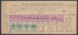 """Bulletin D'épargne FR - Dépôt De 1 Franc Affr. 4x N°45 + 8x N°46 Annulation Roulette - Perforation """"CAISSE D'EPARGNE"""" - 1884-1891 Léopold II"""