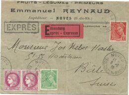 CERES 3FR PAIRE + MERCURE 30C+45C LETTRE EXPRES NOVES 8.6.39 BOUCHES DU RHONE POUR SUISSE AU TARIF - Postmark Collection (Covers)