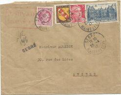 N°760+716+757+676 LETTRE REC PROVISOIRE SEGRE 23.4.1947 MAINE ET LOIRE - Postmark Collection (Covers)