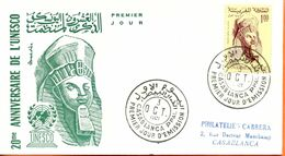 """Maroc;FDC 1er Jour; 1966,TP N°114 """" 20ème Anniversaire De L'UNESCO """"Morocco;Marruecos - Morocco (1956-...)"""