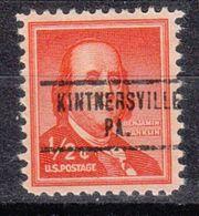 USA Precancel Vorausentwertung Preo, Locals Pennsylvania, Kintnersville 734 - Estados Unidos