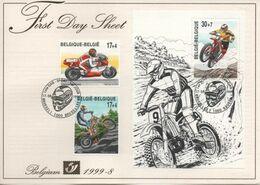 BELGIQUE FDS FDC Bloc 77 2819 2820 2021 Motocyclisme Motocross Trial Dessin CLOVIS 1999 Strip Cartoon Bd Comics - Comics