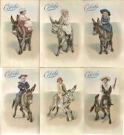 CHROMO CIBILS-2-8-2 CHILDREN AND DONKEYS-6 STUKS FRANS - Cromos