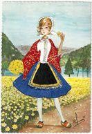 CARTE BRODEE - VOSGES N°3 B - Illustrateur Elsi - Costumes Régionaux - Brodées