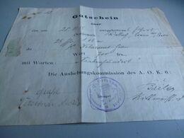 2 DOCUMENTS ALLEMANDS  AVEC CACHETS DE L'ORTSKOMMANDANT  DE CAMPHIN EN CAREMBAULT  (VILLE FRANCAISE )  1915 - 1914-18