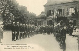 CHAMBLY 19 OCTOBRE 1913 INAUGURATION DES ECOLES ARRIVEE DU PREFET POMPIERS - Frankrijk