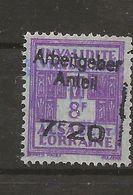 FISCAUX  FRANCE SOCIO-POSTAUX D'ALSACE LORRAINE N°177  7F20 Sur 8F Violet SURCHARGE PART PATRONALE Cote 170€ - Revenue Stamps