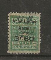 FISCAUX  FRANCE SOCIO-POSTAUX D'ALSACE LORRAINE N°185  3F60 Sur 7F20 Vert SURCHARGE PART PATRONALE Cote 80€ - Revenue Stamps