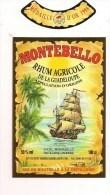 Etiquette  RHUM Agricole MONTEBELLO , Appellation D'origine - Médaille Or 1994 - Distillerie Carrère - GUADELOUPE - - Rhum