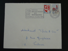 37 Indre Et Loire Tours Fêtes Musicales 1966 (ex 1) - Flamme Sur Lettre Postmark On Cover - Muziek
