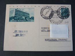 "416 ITALIA Repubblica Interi-1954- Storia Postale Fiera Di Padova ""Turrita"" L. 20 USº (descrizione) - Postwaardestukken"