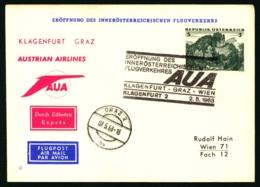 1968 Eröffnung Des Inneröstereichischen Flugverkehrs Klagenfurt - Graz Austrian Airlines AUA - Poste Aérienne