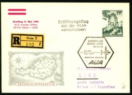 1966 Erstflug 9. Mai 1966 AUA Austrian Airlines HS 748  Graz - Linz Stempel_ Eröffnungsflug Von Der AUA Verschoben - Poste Aérienne