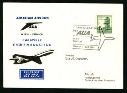 1963 Erstflug 16. Juni 1963 1. Caravelle Flug Der AUA Wien - Zürich Austraian Airlines - Poste Aérienne
