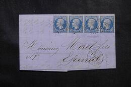 FRANCE - Lettre De Vagney Pour Epinal ,affranchissement Napoléon 20ct En Bande De 4 , PC 3457 - L 68526 - 1849-1876: Classic Period