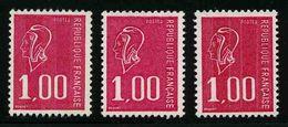 FRANCE - YT 1892, 1892b Et 1892c - Marianne De Bequet - 3 TIMBRES NEUFS ** - 1971-76 Marianne Van Béquet