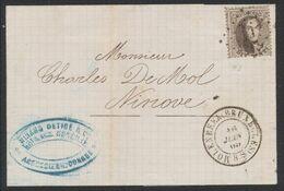 Médaillon Dentelé - N°14 Sur LSC Obl Pt 64 çàd Molenbeek (Bruxelles) > Ninove / Agence En Douane. - 1863-1864 Medaglioni (13/16)