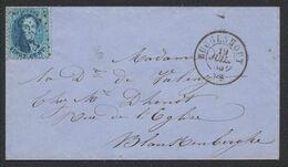 Médaillon Dentelé - N°15 Sur Petite Enveloppe Obl Pt 65 çàd Buggenhout > Blanckenberghe - 1863-1864 Medaglioni (13/16)